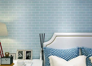 Μπλε προ - κολλημένη αυτοκόλλητη ταπετσαρία τούβλου κάλυψης τοίχων μη υφαμένη/τρισδιάστατη, πρότυπα CE