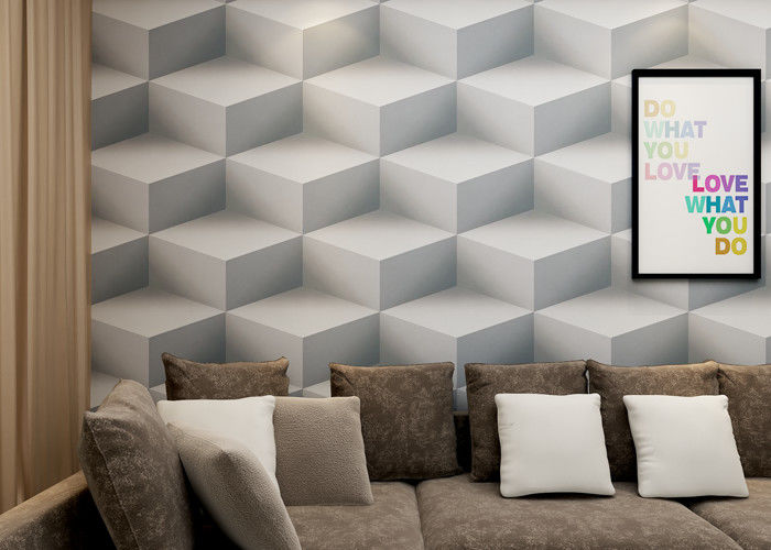 Gray Colro 3D Home Wallpaper Removable , 3D Effect Geometric Modern Wallpaper