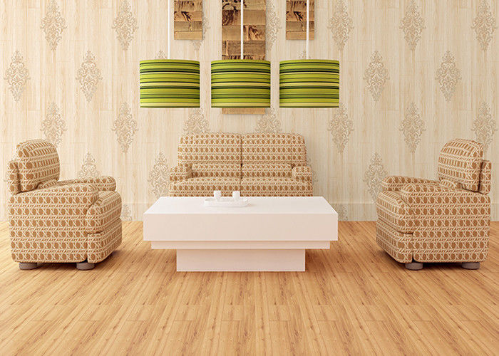 Natural Style Modern Removable Wallpaper , Damask Pattern Wood wallpaper With Foam Surface Treatment