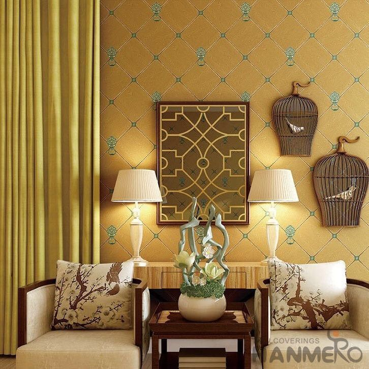 New Arrival Yellow 0.53*10M Suede Wallpaper Germetric Pattern Elegant Home Decoration