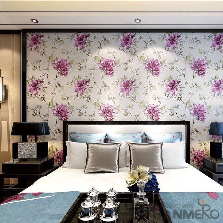 Chinese 0.53*10M/Roll Suede Wallpaper with Big Pink Flowers Pattern Decoration Foaming